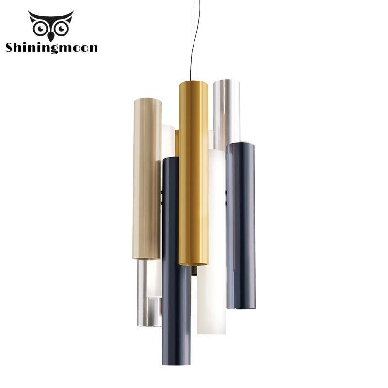 Post Modern Design Long Tube Pendant Lights Nordic Coffee Store Living Room  Home Decor Pendant Lamp 220V Aluminum Light Fixture