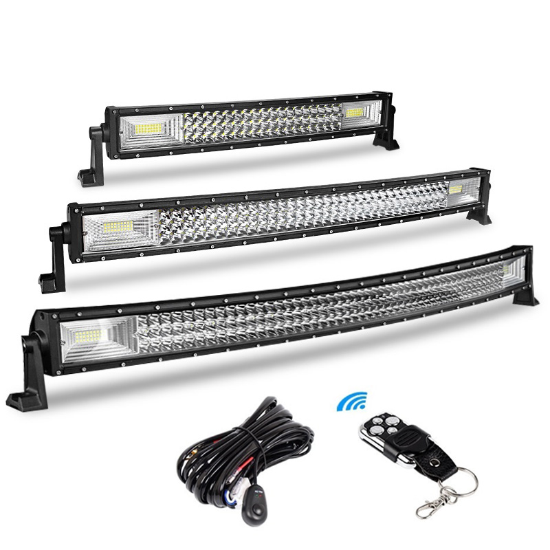 3-Row 22 Inch 324W 34 Inch 486W 42 Inch 594W Curved LED Light Bar Offroad Led Bar Spot Flood Beam Led Work Light Bar 12v 24v Car