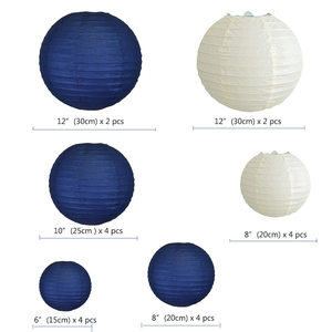 """Image 2 - 20 pcs 6"""" 12"""" Paper Lanterns Assort with Size Navy Blue Beige Chinese Paper Lantern lampion for Wedding Christmas Event Party"""