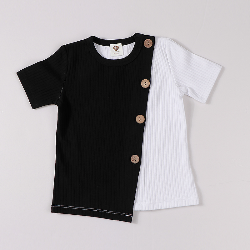 Kids clothes t shirt baby girls and boys clothes round neck short sleeves fashion children t-shirt ribbed contract patched color