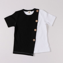 Boys T-Shirt Short-Sleeves Patched-Color Ribbed Baby-Girls Fashion Contract And Round-Neck