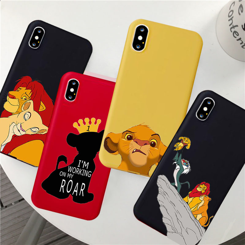 Cute The <font><b>Lion</b></font> <font><b>King</b></font> 2019 Simba Nala Silicone Phone <font><b>Case</b></font> Cover for <font><b>IPhone</b></font> X 7 8 6s Plus XS MAX XR 11 Pro Max Cover Coque image