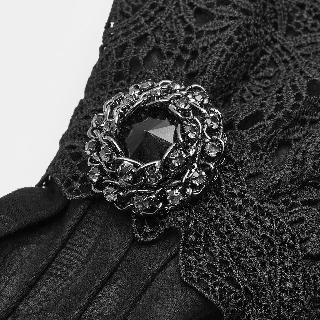 PUNK RAVE guantes de nobleza lujosos para hombre Victoria elegantes de gamuza Floral de encaje de invierno largo Formal de fiesta de noche de cena guantes - 4