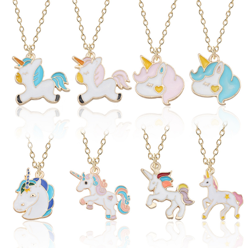 Dropshipping Unicorn Pendant Necklace Best Friends Kawaii Cute Necklace Golden Chain Choker For Women Girls Gifts