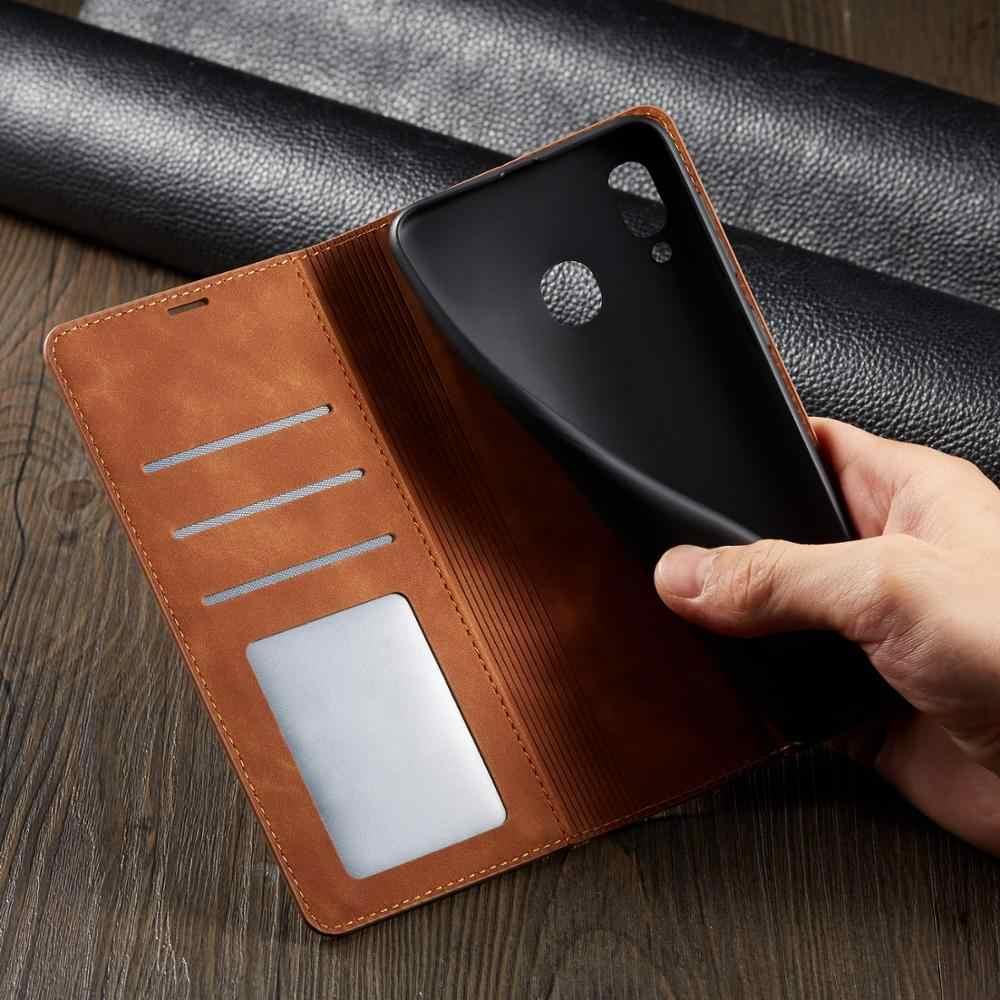 Skórzany portfel przy telefonie etui do Samsung Galaxy S8 S9 S10 Plus S10 e A10 A20 A30 A40 A50 A60 A70 A80 A90 okładka etui z klapką przypadku Coque etui