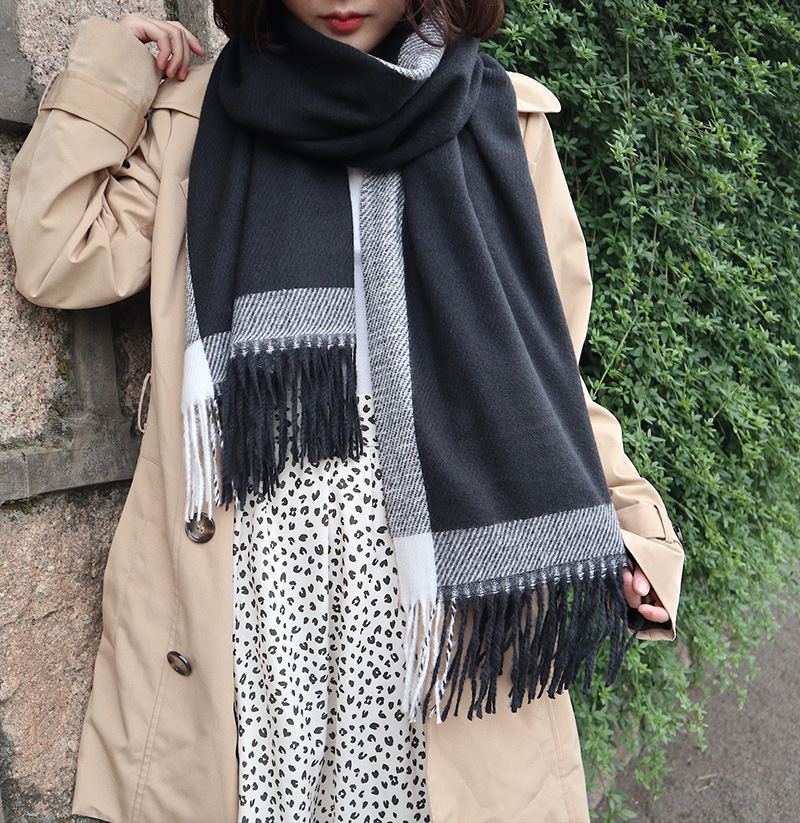 Autumn And Winter Scarf Couples Foreign Trade Creative-Mixed Colors Faux Cashmere Long Tassels Warm Shawl Wholesale Manufacturer