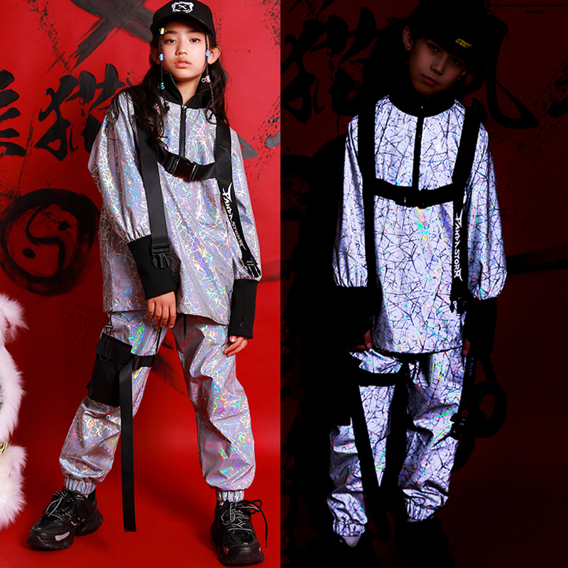 Explosion Kids Hip Hop Dancing Clothes Reflective Laser Coat Pant Boys Girls Clothing JAZZ Ropa HipHop Performance Stage Outfit