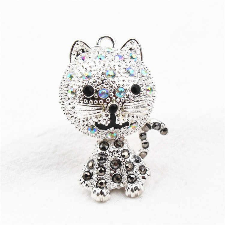 Pingente de gato tridimensional cor de cristal adorável e doce dos desenhos animados