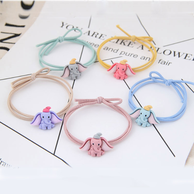 Cute Cartoon Dumbo Hair Scrunchies For Women Fashion Jewelry Knotted Elastic Rubber Bands Femme Girls Ponytail Holder Ornaments