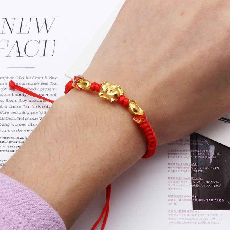 1 pc lucky kabbalah corda vermelha trançado ouro porco charme pulseiras moda jóias