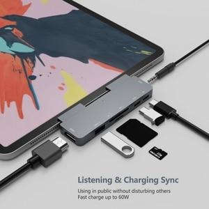 USB C Hub dla ipada Pro 2018 type-c do 4K Adapter HDMI SD/czytnik kart TF gniazdo Jack do słuchawek 3.5mm PD ładowanie dla Pro