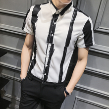 Рубашка мужская приталенная в полоску, модная сорочка с коротким рукавом, повседневная рабочая одежда, смокинг для ночного клуба, 3XL, лето 2020