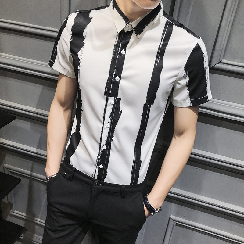 Fashion Men Striped Shirt 2020 New Summer Short Sleeve Shirt Men All Match Slim Fit Casual Men Work Shirts Night Club Tuxedo 3XL