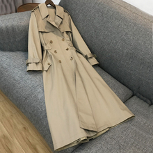 Spring Autumn 2020 Women British Style Double Breasted Slim Solid Color Classic Long Trench