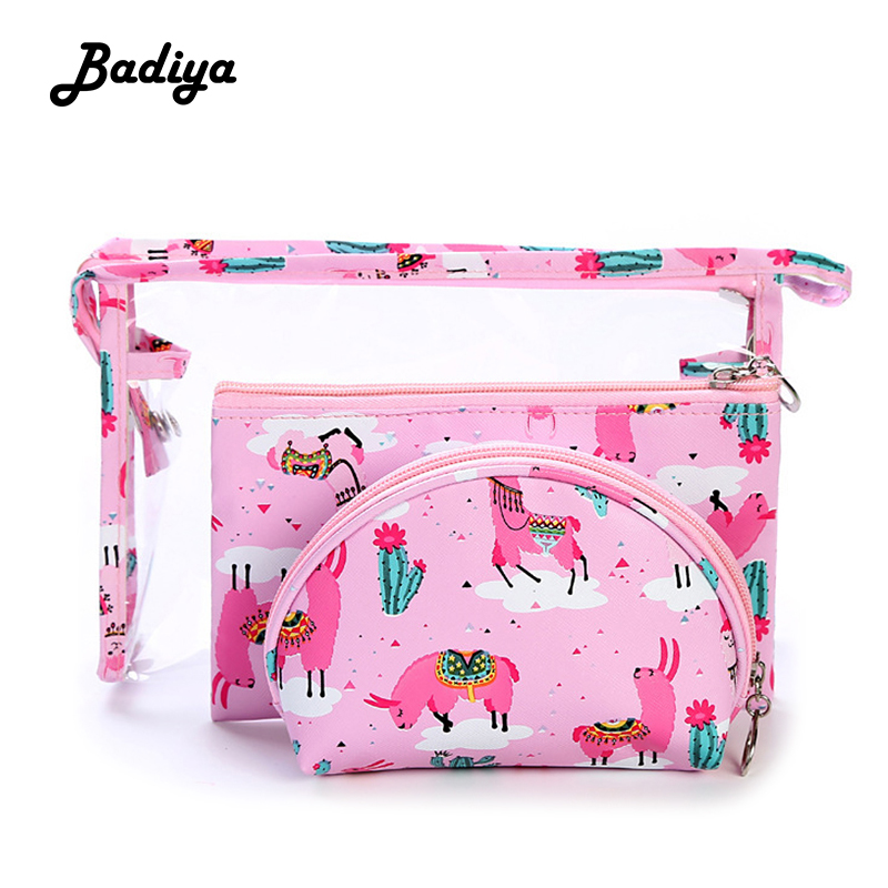 Travel 3 Pieces Set Cosmetic Bag Cute Cartoon Printing Transparent Travel Portable Wash Storage Bag New Ladies Toiletry Bag image