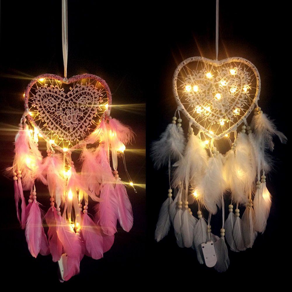 LED Hanging Wall Feather Light Handmade Knitted Dream Catcher Night Light Girl's Room Ornaments For Home Wedding Decor Lamp