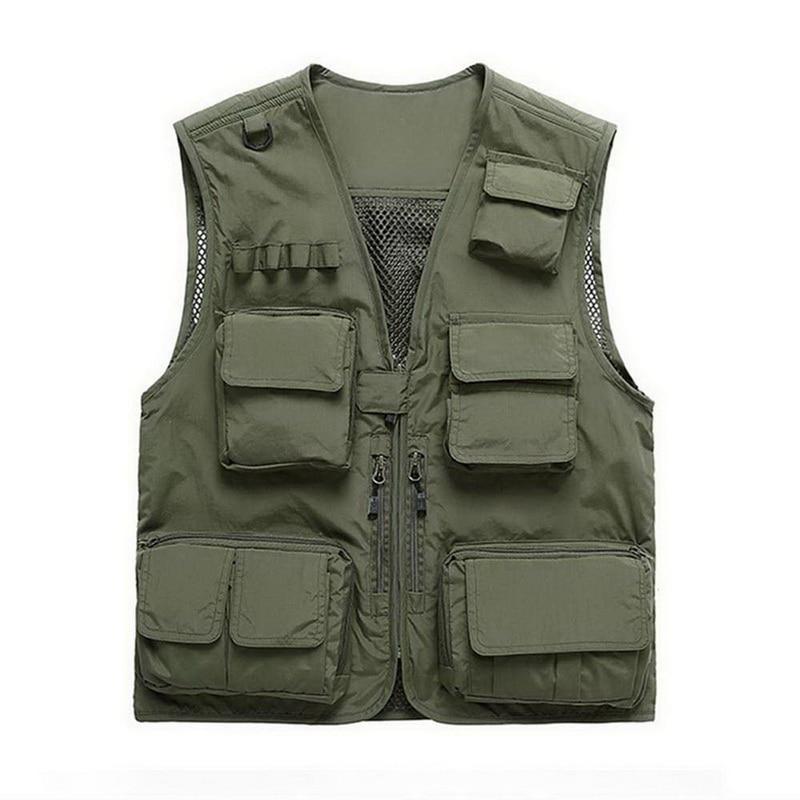Summer New Brand Outdoors Travels Esporte Vest Tops Mesh Men Vest Plus Size Vests Multi Pockets Jacket