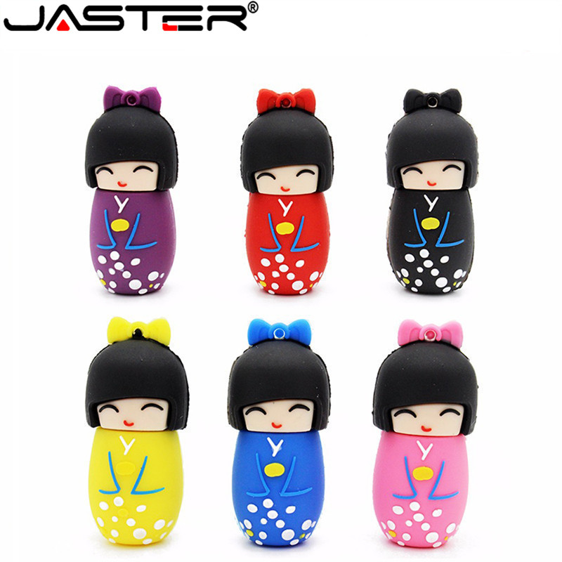 JASTER Japanese Dolls Kimono Girl Usb Flash Pen Drive 4G 16GB 32GB 64GB U Disk Dolls Flash Usb Memory Stick Pen Drive Gifts Disk