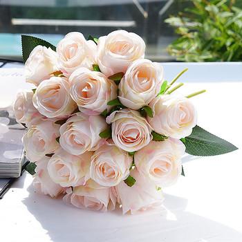 18 sztuk partii sztuczne bukiet ślubny z róż kwiat róży z jedwabiu do dekoracji wnętrz domu sztuczne kwiaty świąteczne kwiaty tanie i dobre opinie amorobe CN (pochodzenie) AB9242 Różany Bukiet kwiatów Ślub roses artificial flowers Silk Rose Bouquet Fake Flower Autumn Decorations