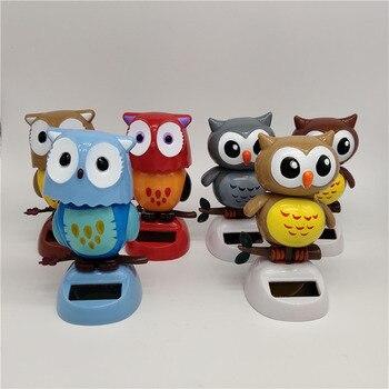 1Pcs Solar Powered Cute Owl Birds Shaking Head Car Ornament Solar Toys Classic Swing Doll Auto Dashboard Accessories Toys 2