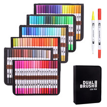 12-120 Colours Dual Brush Pens Art Markers, Artist Fine Brush Tip Colouring Pens Marker Pens