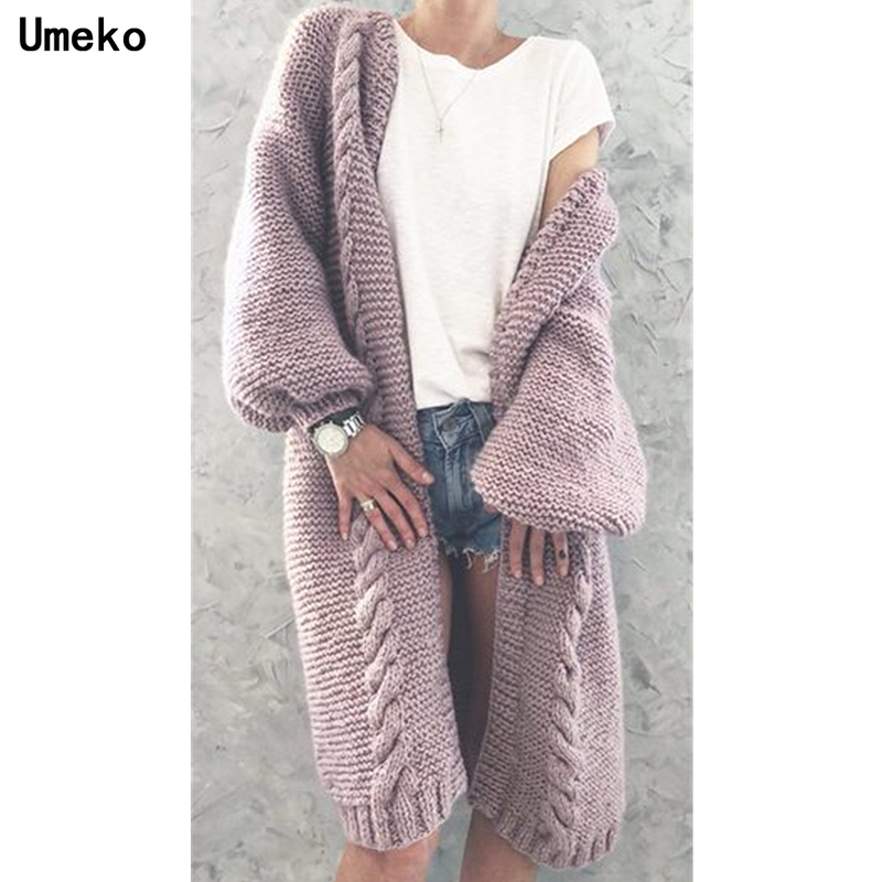 Umeko 2019 New Women Knitted Cardigan Winter Thick Warm Long Cardigan Female Long Sleeve Vintage Sweater Outwear Plus Size Coats