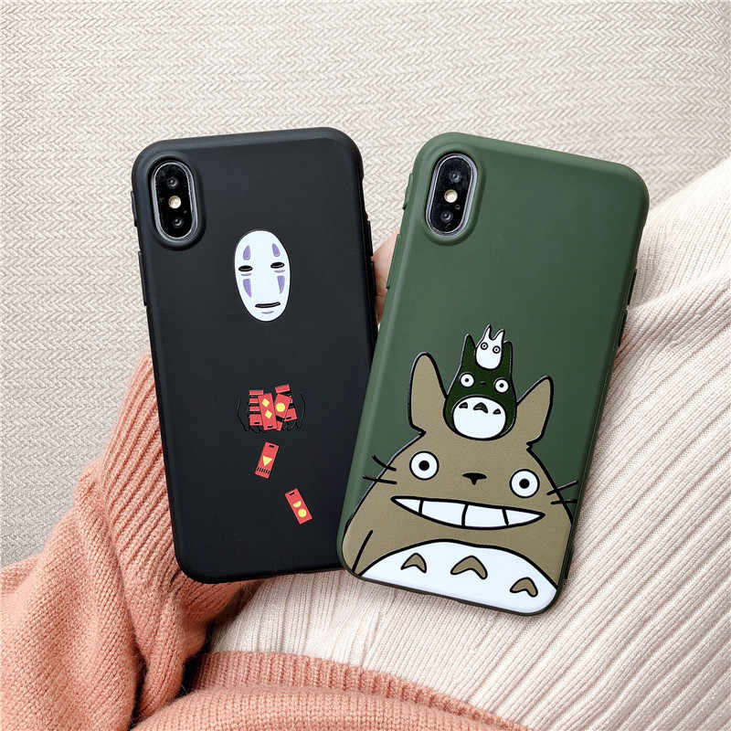 JAMULAR Cute Cartoon Happy Totoro Phone Case For iPhone 11 Pro XS MAX XR X 8 6 6s Plus Anime Soft Back Cover For iPhone 7 Coque