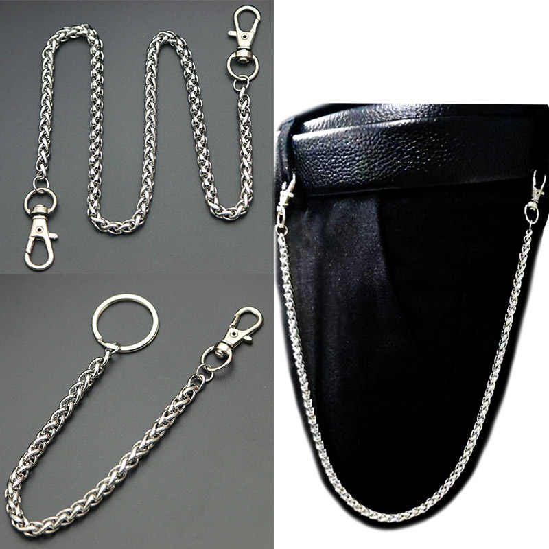 Stainless Steel Long Metal Wallet Chain Leash Pant Jean Keychain Ring Clip Men's Hip Hop Jewelry