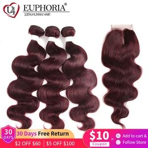 Image 2 - 99J Burgundy Body Wave Bundles With Closure Blonde 27 Brazilian Remy Human Hair 3 Bundles With 4x4 Lace Closure Frontal EUPHORIA