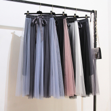 2019 Womens Tulle Plain Pleated Skirts New Fashion Hit Color Patchwork Mesh Midi Skirt High Waist Women
