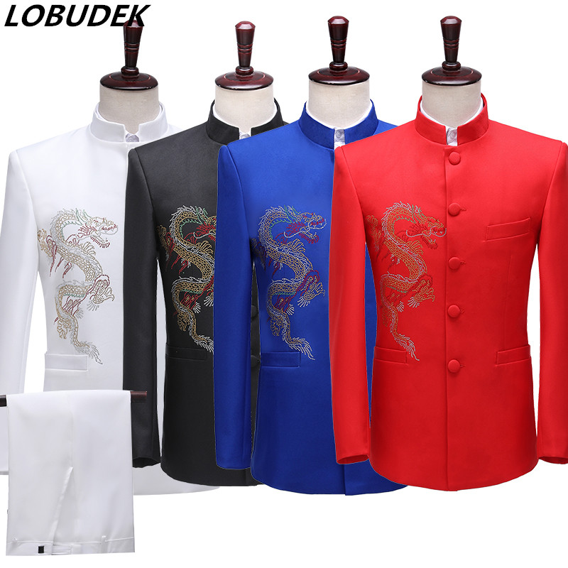 Men Black Chinese Tunic Suit Crystals Embroidery Stand Collar Blazers Pants 2-pieces Set Singer Host Stage Performance Slim Suit