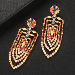Image 4 - GODKI 75mm MAXI Size Charms Luxury Link Chain Tassel Drop Earring Women Full Mirco CZ Paved Cubic Zircon Wedding Fashion Jewelry