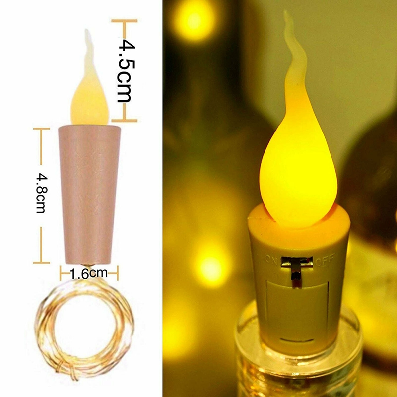 6X Fairy Flame String Lights Cork Shaped Night Candle Wine Bottle Lamp O4Q9
