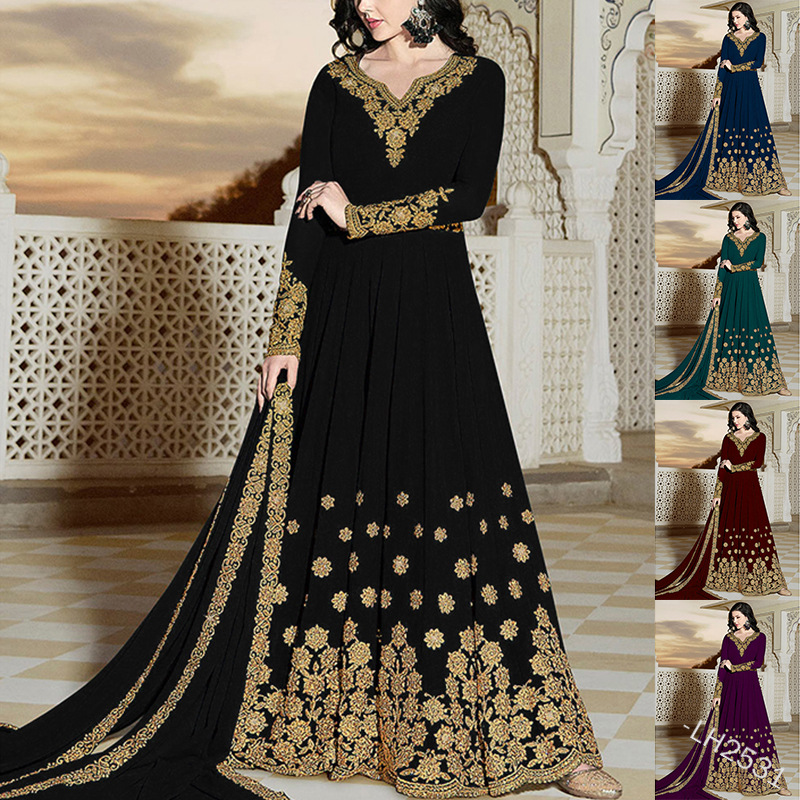 Muslim Wear for Women Islamic Clothing European and American Retro Elegant Long Sleeve V neck Printed Chiffon Temperament Dress