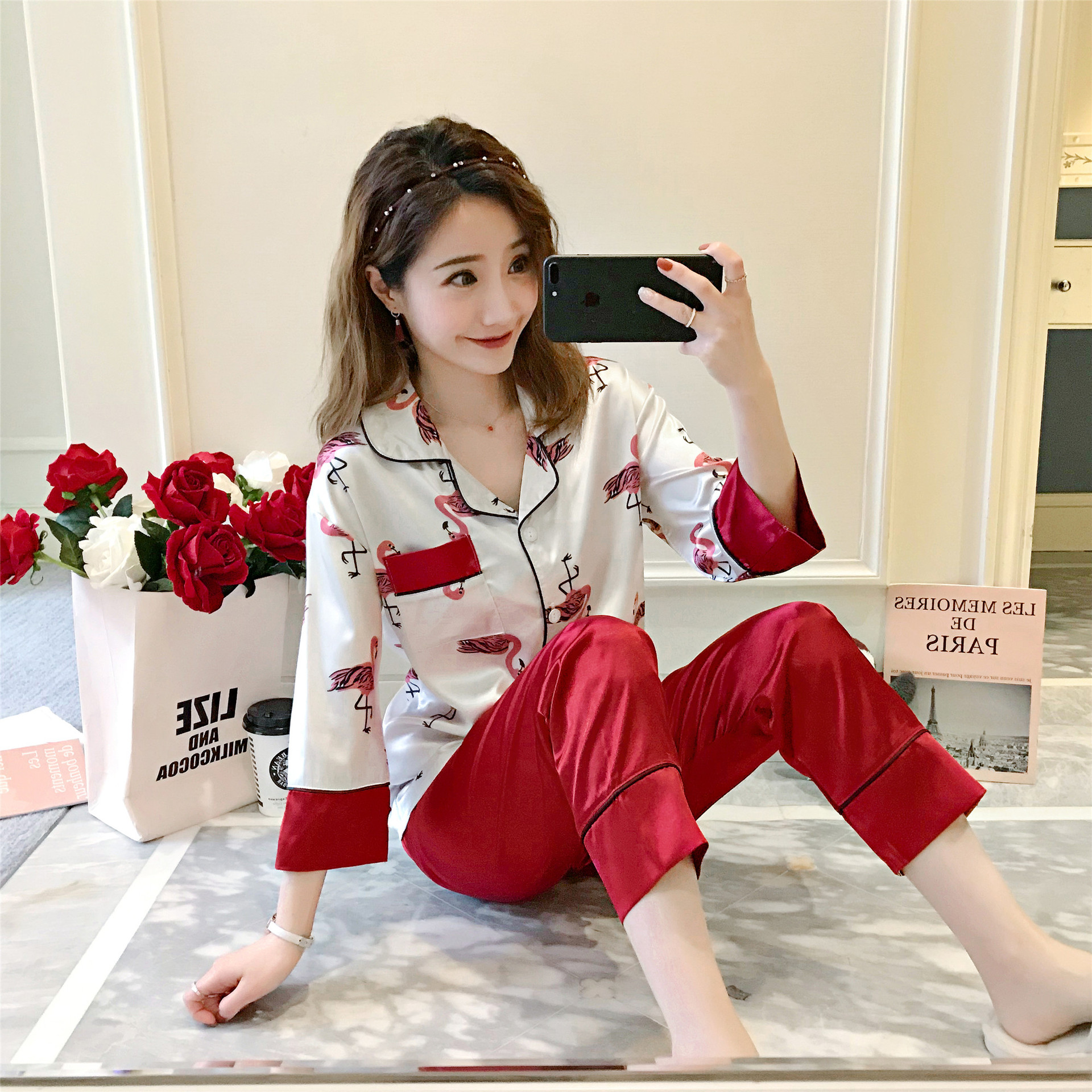 Long Sleeve Pajamas Women's Viscose Spring And Autumn Korean-style Cute Cartoon Flamingo Cardigan Suit Model Silk Home Wear