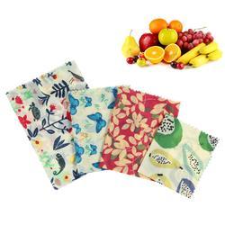 4 sztuk wosk pszczeli folia spożywcza wielokrotnego użytku przyjazne dla środowiska folia spożywcza torby na kanapki naturalne owoce wosk pszczeli tkaniny kuchenne narzędzie do przechowywania|Folia i torby plastikowe|   -