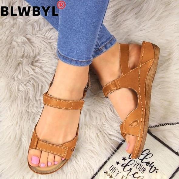 Summer Flat Sandals Woman 2020 Ladies Fashion Leather  Flat Solid Peep Toe Sandals Women Sandalias Mujer Plus Size