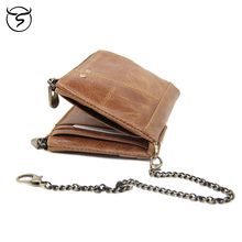 Men's Genuine LeatherWallet Designer Coin Pocket Thin WalletsZipper Purse Card Holder Short Wallet Male Clutch Bags