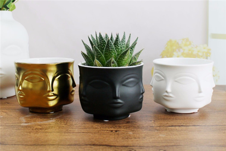 Modern Man Head & Face  Ceramic Plant and Flower Vase free shipping