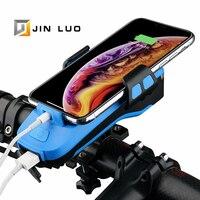 Luce anteriore per bici supporto per telefono Power Bank carica USB 4000mah tromba elettrica MTB BMX accessori per ciclismo su strada
