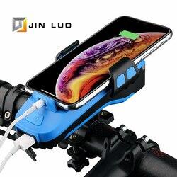 Rower przednie światła uchwyt telefonu Power Bank USB Charge 2400mah 4000mah elektryczny róg MTB BMX szosowe akcesoria rowerowe