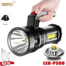 Usb recarregável super brilhante portátil portátil lâmpada forte luz p500led lâmpada + cob luz lateral holofote ao ar livre