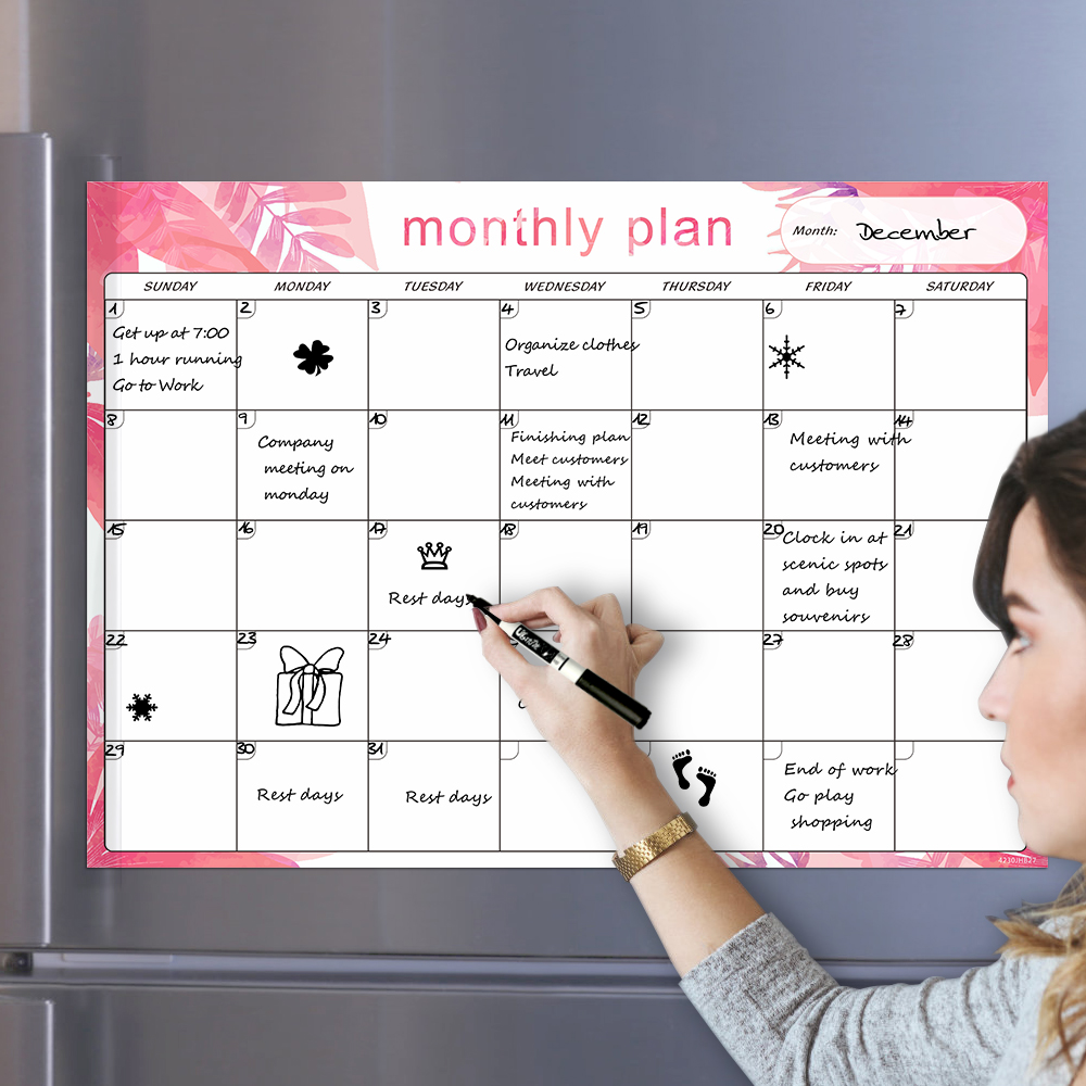 Magnetic Calendar WhiteBoard For Fridge Sticker 42x30cm Monthly & Weekly Planner Grocery To Do List Message Remind Memo Notepad