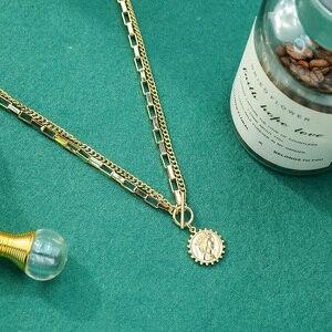 Kissme Einzigartige Runde Königin Porträt Typenschild Anhänger Halsketten Für Frauen Gold Farbe Toggle Verschluss Layered Ketten Mode Schmuck
