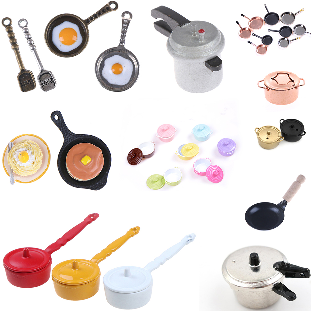 Multi Styles 1/12 Dollhouse Pot Frying Coffee Cake Pot Boiler Pan Copper Pot With Lid Rice Cooker Doll Simulation Kitchen Toys