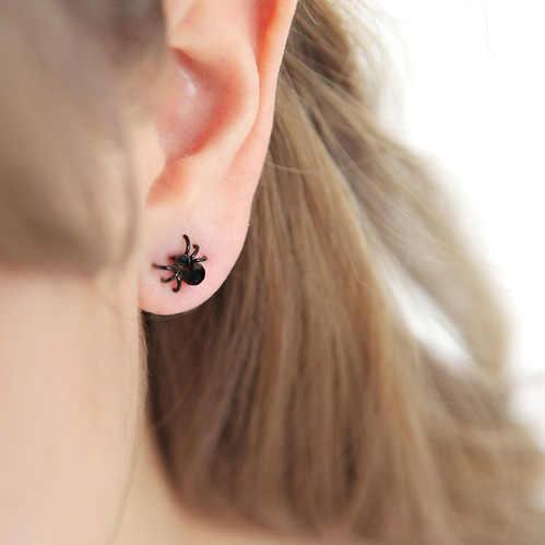 Minúsculos pendientes de botón de araña, bonitos pendientes divertidos, joyería Punk Unisex para mujeres y hombres