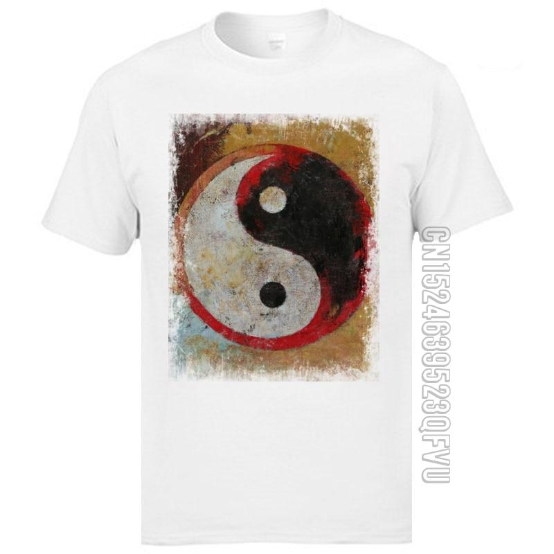 Высококачественные футболки из чистого хлопка, облегающие топы, футболки с принтом Yin Yang Tai Chi, красные футболки с рисунком дракона для мужчин, Homme Camisetas|Футболки| | АлиЭкспресс