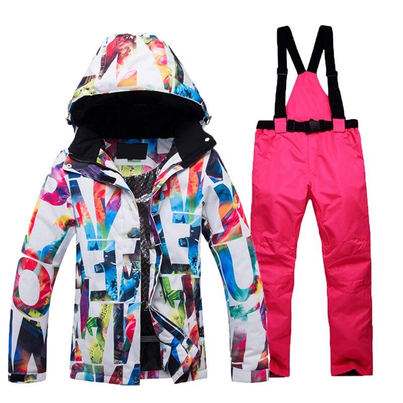New Thick Warm Ski Suits Women Waterproof Windproof Skiing Snowboarding Jacket Coat Pants Sets Female Snow Costumes Outdoor Wear