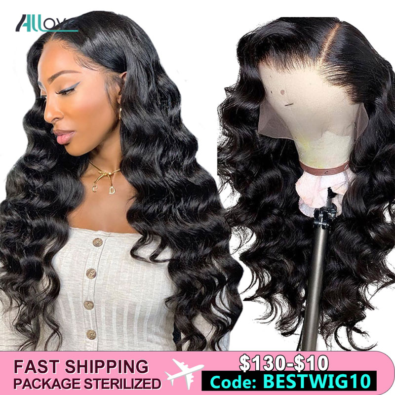Allove Lace Front Human Hair Wigs Loose Wave Wig For Black Women Natural Color Brazilian 13x4 Lace Front Wig Remy Human Hair