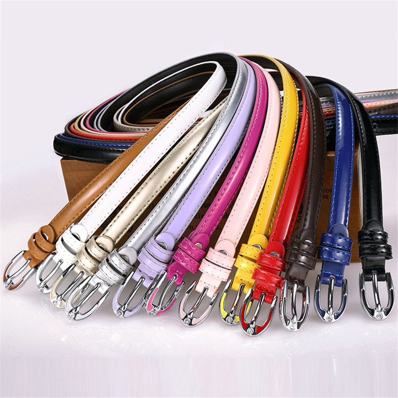 TopPU Leather Belt With Metal Buckle Waist Belts For Women Pin Harajuku Candy Colors Belts 1.5CM Width Small Belt Wholesale